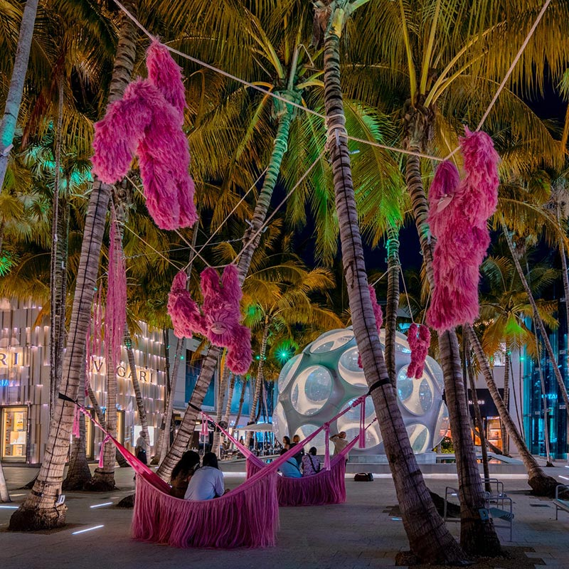 Fernando Laposse Brings Shaggy, Chilled-Out Pink Sloth to the Miami Design District